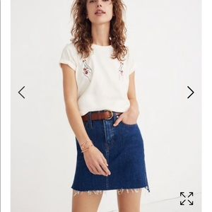 Stretch Denim Straight Mini Skirt: Step-Hem Editio